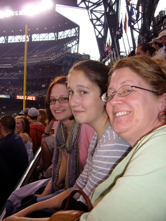 Lauren, Madeleine, Trish at Mariners Game