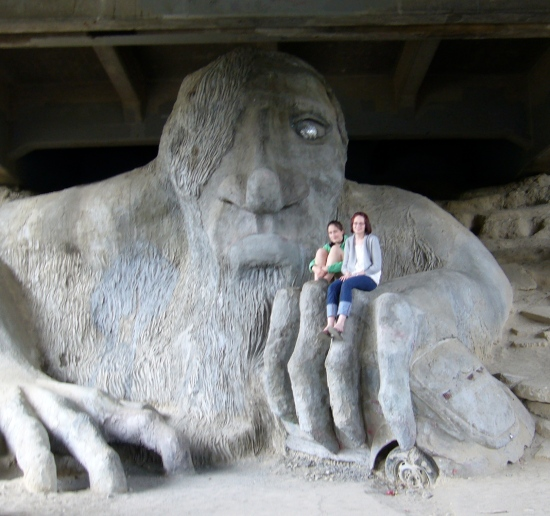 Madeleine and Lauren on the Fremont Troll